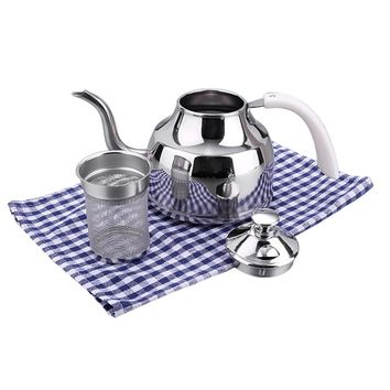 Stainless Steel Pour Over Coffee Pot Gooseneck Teapot Tea Pot with Leaf Strainer Filter 1L or 1.2L