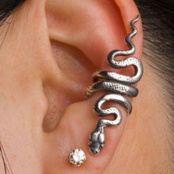 Silver Snake Ear Cuff by martymagic on Etsy