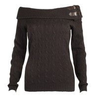 Leather Buckle Cable Knit Sweater