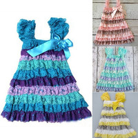 Cute Fashion Kids Girls children Baby Lace Princess Party Dresses Skirt 4color = 1946649156