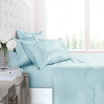 Egyptian Luxury Silky Soft Satin 4-Piece Bed Sheet Set - Ultra Smooth Satin Microfiber - Wrinkle & Fade Resistant, Hypoallergenic Sheet & Pillow Case Set - King - Aqua