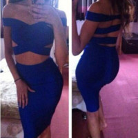 HOT SHOW BODY BLUE DRESS HIGH QUALITY