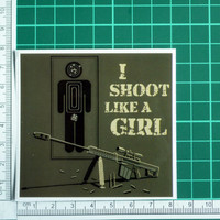 I Shoot Like A Girl Target Sticker Bullseye Gun Rifle Weapon Funny Hunting Decal