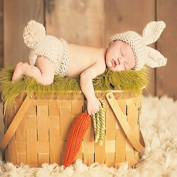 Newborn Props Accessories Baby Bunny Crochet Knitting Costume Rabbit Baby Caps Hats Newborn Baby Gift