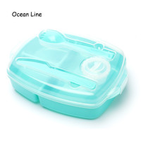 2016 New Portable 3 Compartments Bento Lunch Box Dinnerware Set With Spork Knife Dressing Food Fruit Storage Container Lunchbox