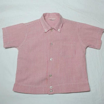 1960s Vintage Boys' Health Tex Seersucker Oxford Shirt, Size 6, Santogs, Button Down Collar, Vintage Children's Clothing, 1970s Boys Fashion