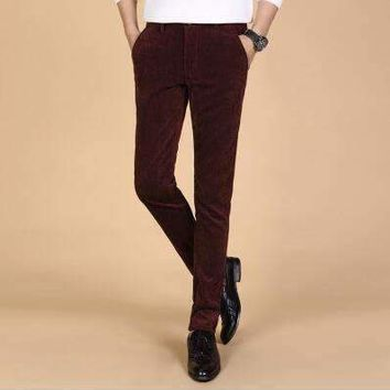 Mens Corduroy Trousersmens Business Strip Trousers Casual Pants Slim Straight Trousers