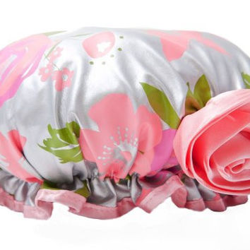 Bella Il Fiore Bath Diva Shower Cap Gray Floral with a Pink Flower