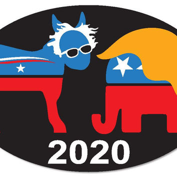 "Bernie Sanders vs Donald Trump for President 2020 6""x4"" oval bumper sticker decal"