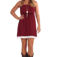 For Luck Lace Dress - Maroon
