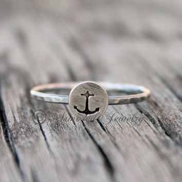 Anchor Stamped Stackable Ring - Stacking Jewelry - Stack Rings