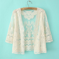 Pattern Lace Mesh See Through Sleeve Cardigan