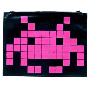 Large Upcycled Vinyl Atari Space Invaders Pixel Alien Banner Print Clutch Bag