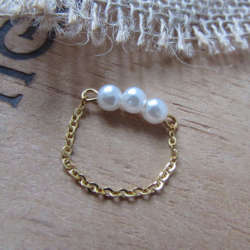 3 pearl 14k gold plated chain ring