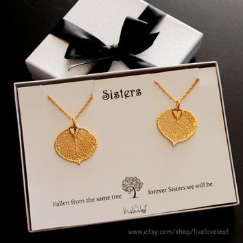 Sisters jewelry - matching Gold Aspen Leaf Pendants for 2 sisters, Set of 2 leaf Necklaces Genuine Aspen Leaf dipped leaves, Mothers day