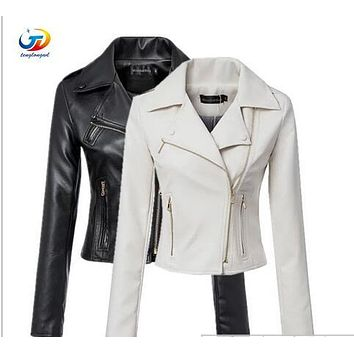 2016 spring women pu leather jacket casual zipper long sleeve regular motorcycle women PU jacket black and white