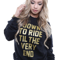 The Down 2 Ride Gold Sweatshirt in Black