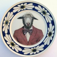 Wool Suit Altered Vintage Plate by BeatUpCreations on Etsy