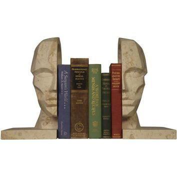 Knowledge Face Bookend, White Marble