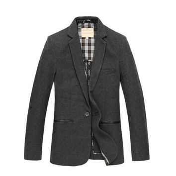 Autumn Formal Business Mens PU Leather Elbow Patch Wool Slim One Button Blazer ,Coat For Man , Male Fall 4xl 5XL Fitted Blazers