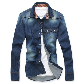 Autumn top quality men's casual shirts long sleeve famous brand fashion clothe water wash denim shirt  for men