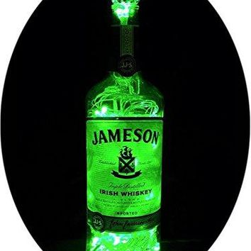 Upcycled Jameson Irish Whiskey Mood Therapy Liquor Bottle Light w/100 Green LED's