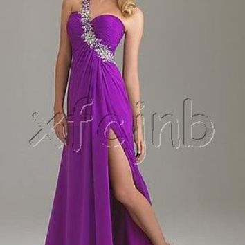 One Shoulder Paillette Bridesmaid Prom Gown Long Ball Homecoming Evening Dress