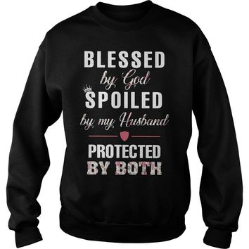 Floral blessed by god spoiled by my husband protected by both ladies tee Sweatshirt Unisex