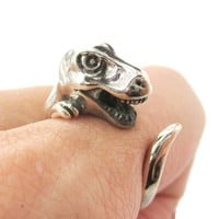 T Rex Dinosaur Shaped Animal Wrap Ring in 925 Sterling Silver | US Sizes 3 to 8