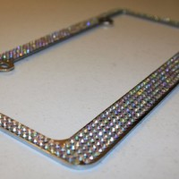 6 row CRYSTAL AB Rhinestone covered Bling Sparkle License Plate Frame & Screw Caps Se