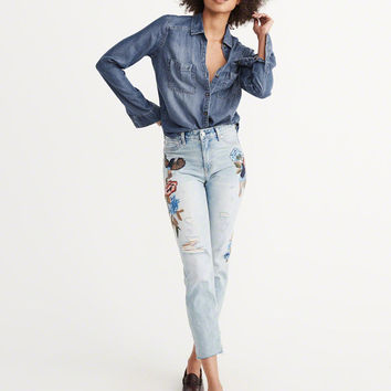 Womens Chambray Shirt | Womens Tops | Abercrombie.com
