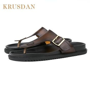 Fashion Comfortable Genuine Leather Man Slippers Summer Non-slip sandals Flip Flops,Casual Flat Heel Beach Sandals Shoes Male