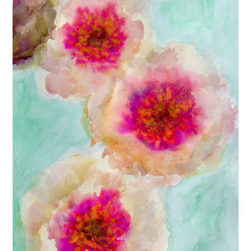 Romantic Times Floral Abstract Watercolor Giclee Print Original Artwork