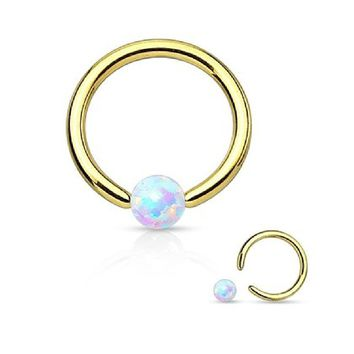 White Opal 20g Surgical Steel3/8- 5/16 Inch (8 mm) - (10mm) Hoop Nose Ring