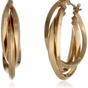 Anne KleinquotClassicsquot GoldTone 3 Ring Hoop Earrings