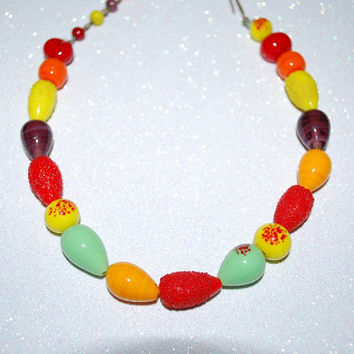 "Vintage 1940's ""Fruit Salad"" Molded Glass Bead Choker Necklace"