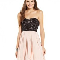 Sequin Hearts Juniors' Lace Colorblock Strapless Dress | macys.com