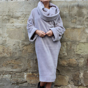 ON 25 % OFF Grey Maxi dress, Oversized dress, jumper dress, Turtleneck dress, Winter dress, Casual dress, Fluffy dress, Fur dress, Sporty dr