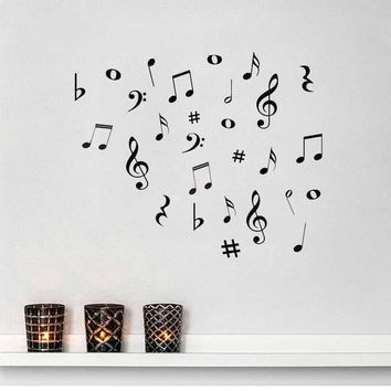 DIY MUSIC Letters Variety Pack Wall Stickers Vinyl Decoration Decal Art Living Room Bedroom Bathroom Home Decor Mural Home Decor
