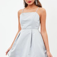 Missguided - Gray Satin Skater Dress