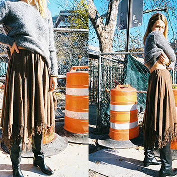 WOOL JERSEY SKIRT WITH FRINGE