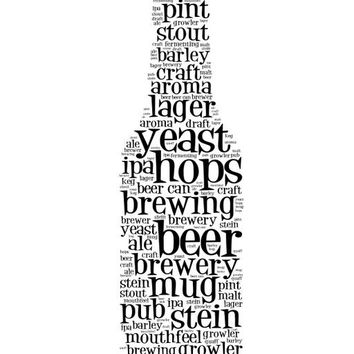 Word Art Print of Beer Terms on a Beer Bottle, Typography, Man cave decor, wall decor, beer decor