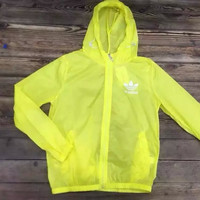 """Adidas"" Fashion Casual Letter Beach Solid Color Perspective Ultra Thin Sunscreen Coat"
