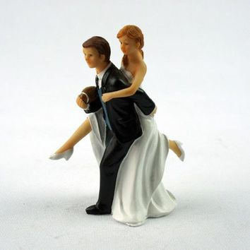 ICIKIX3 Wedding Marriage engagement decoration Gift Playful Football Soccer WEDDING bride and groom Couple Cake Topper figurine