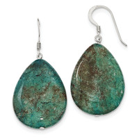 Sterling Silver Large Crack Aventurine Teal Tear Drop Earrings