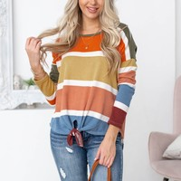 Long Sleeve Knot Block Color