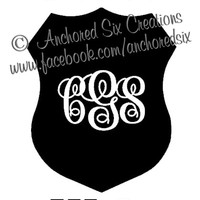 Police Wife Monogrammed Decal