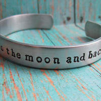 Bracelet I LOVE You To The MOON And Back Cuff Aluminum Childrens Jewelry Hand Stamped