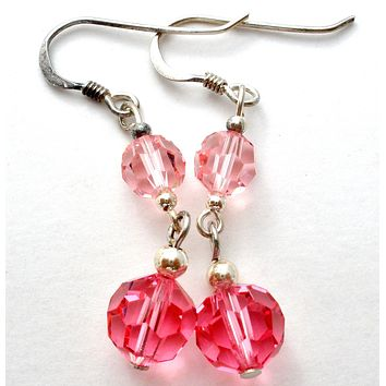 Pink Crystal Bead Earrings Sterling Silver