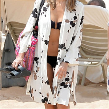 New Arrivals Beach Cover up Print Swimwear Ladies Walk on The Beach Cape Robe de Plage Tunic Women Beachwear Saida de Praia #Q22